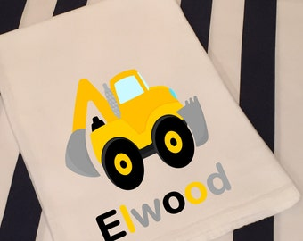 Personalized Construction Truck Backhoe White Flour Sack Hand Towel Little Boys Construction Truck Bathroom Hand Towel Birthday Party Favors