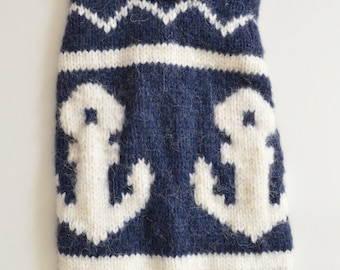 made to order - we knit for any breed measure made - dog nautical sweater - other colors are possible