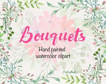 Bouquets watercolor Clipart ,Floral Bouquets clipart,Spring,Wedding Clipart ,spring flowers