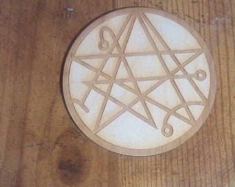 Handmade Etched Necronomicon Coaster