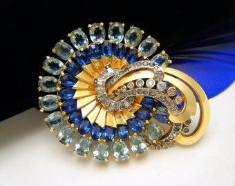 Gorgeous Vintage Mazer Brooch Blue Clear Rhinestone 1950s Retro Design