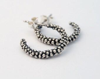 Caviar hoops - sterling silver modern balls earrings