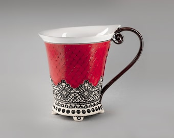 Ceramic Cup, Tea Cup, Handbuilding Techniques, Ceramics and Pottery , Handbuilt Pottery Cup, Red Cup, Unique Cup, Coffee Cup, Mug,