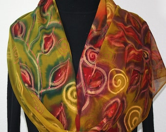 Olive Silk Scarf. Chiffon Hand Painted Silk Shawl. Handmade Scarf COLORADO BLOSSOMS. Large 14x72. Birthday, Bridesmaid Gift. Gift-Wrapped