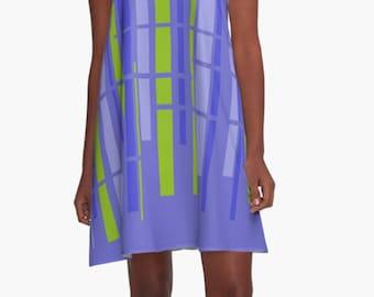 Gift for Women Retro Dress  Summer Dress Party Dress XL Dress Stripes Mini Dress Mod Dress Casual Dress Purple Chiffon Dress Womens Gift