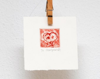 Lovely red heart, etching, hand printed, original wall art