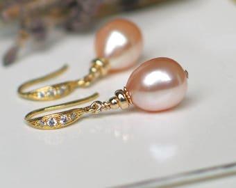 Teardrop Pearl Earrings | Peach Pink Champagne Freshwater Pearls | CZ 14k Gold Vermeil Dangles | Birthday | Wedding Gift | Ready to Ship