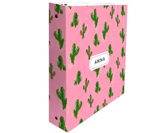 Cute 3 Ring Binder: Cactus Print