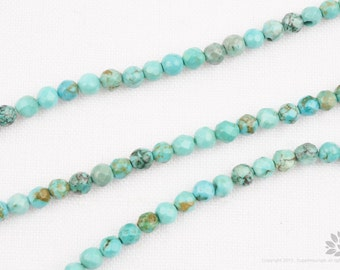 GT103-TQ// High Quality Natural TURQUOISE  Faceted Round Stone Beads, 3mm, 1 Strand