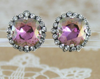 Purple crystal earrings,swarovski,purple wedding jewelry,purple jewelry,bridesmaid earrings,bridal earrings,purple earrings,lilac shadow