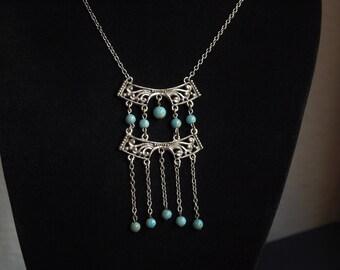 Vintage Ethnic Turquoise Boho Pendant Necklace, Ethnic Style Pendant, Large Pendant Necklace, Turquoise Pendant.