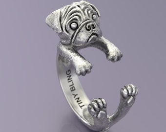 PUG  Ring in Oxidized Sterling Silver