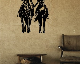Horse Decal-Horse Couple wall sticker, Large decal- 27 inches x 36 inches. 821-HW