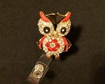 Red and Gold Owl Badge Holder
