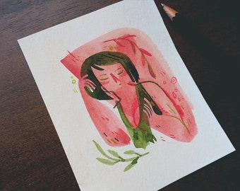 Pink Lady - original watercolor painting