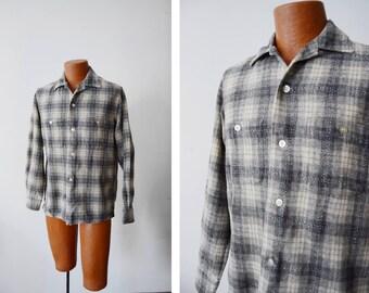 60s Grey Wool Plaid Shirt - Medium
