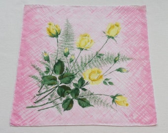 Sale - Vintage Floral Cotton Hankie Handkerchief - Yellow Roses on Pink and White Background