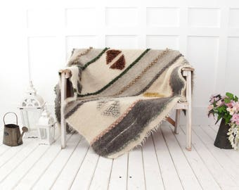 Weighted wool throw blanket, Sofa cover, Hand woven throw, heavy wool blanket, sofa coverlet, wool throw, livingroom home decor, Wool plaid