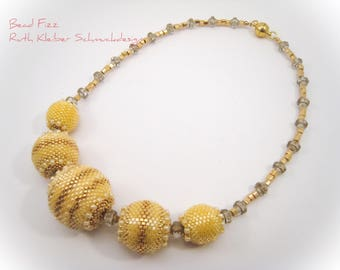 Butterscotch Beaded Beads Necklace, Golden Yellow Bead, Gold and Yellow Beadwoven Necklace, Beadwork Balls Chain, Yellow Jewelry, Bead Balls