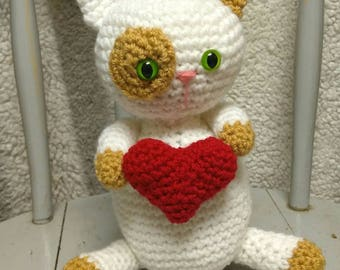Valentine Cat Doll - amigurumi cat large crochet cat holding heart kitten Valentine gift white READY TO SHIP