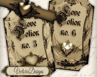 Love Potion labels sepia valentine's day instant download printable tags digital Collage Sheet - VD0206