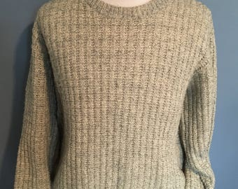 Vintage 1980s American Eagle Oatmeal Colored USA Made Crewneck Sweater / vintage sweater / vintage pullover Large