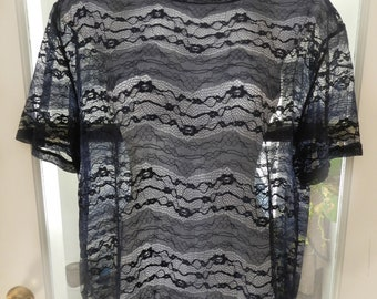 Vintage Blue Stretch Lace T-Shirt, See Through Top - Blue Floral Lace Blouse, Grunge 90s Clothing Size M/L
