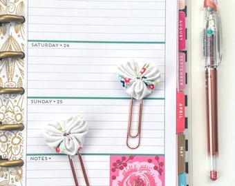 Set of 2 Mini Fabric Heart Paperclip bookmarks - Planner Paperclips - Planner Accessories - Planner Clips - Spring Floral Riley Blake Fabric