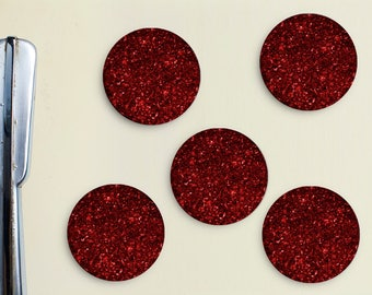 Glitter Magnets - Red, Magenta, Ruby, Girly, Office, Organization, Home Office, Refrigerator, Fridge, Glitzy, Locker Magnet, Organize