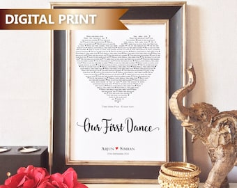 Personalised Our First Dance Print, Unique Gift, Wedding, Anniversary, Valentines, Heart, Love Song, Word Art, DIGITAL DOWNLOAD FILE