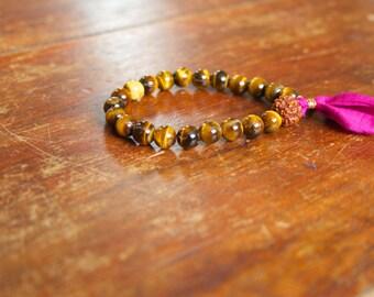 Tassel Japa Mala Bracelet for Women Yellow Tiger Eye Gemstone Rudraksha Silk Sari 21 Bead Buddhist Spiritual Yoga Jewelry