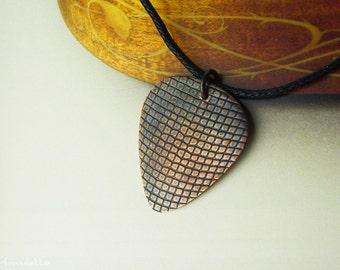 "Guitar gifts - Custom guitar pick necklace  -  ""Classy-Pick"" brand - rock, rocker, leather pattern, medium"