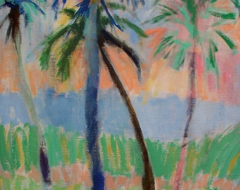 Blue Palm-Palm Trees- Acrylic Painting- Archival Print- 12x14.5""