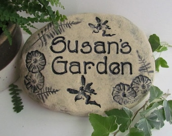 Custom Fairies garden sign / Fairy garden stone  / Personalized Fairy garden plaque  / Mom gift / Personalized Mothers day gift