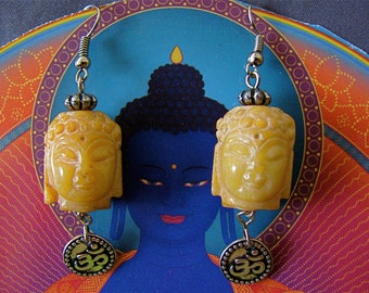 Buddha OM earrings, Soapstone Buddha earrings, Sacred Buddha earrings