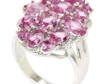 Sterling Silver Pink Tourmaline Gemstone Ring Size 8.25