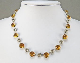 Vintage Sterling Necklace With Faceted Citrine Colour Glass 1930s Jewelry