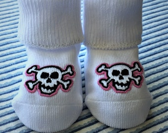 Pink Skull and Crossbones Baby Bootee