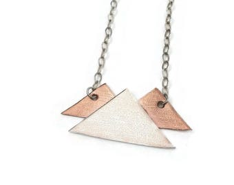 Mountain Necklace / Mountain Pendant / Silver Mountain Necklace / Copper Mountain Necklace /