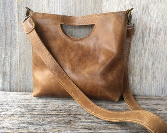 Rustic Leather Clutch  - Handmade Distressed Brown With Character Handbag Small Purse by Stacy Leigh
