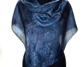 Navy square scarf, Square silk scarf women, boho silk shawl, natural silk head scarf, blue batik scarf, oversized handmade silk scarf square