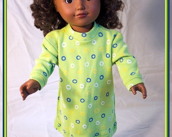 """American made Girl Doll Clothes, Spring Green Dress for just Everyday Play! American Girl and other 18"""" Dolls"""