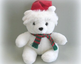 Christmas Bear Teddy Bear Toy Bear Stuffed Bear Doll Plushy Bear White Bear Plush Bear White Teddy Bear Plushie Bear Santa Bear Holiday Bear