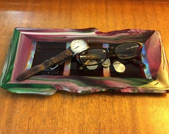 Beautiful, Fuchsia, Cranberry, Green & White, Fused Art Glass Tray with Dichroic Accents