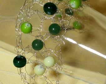 Granny Smith - silver wire crochet bracelet