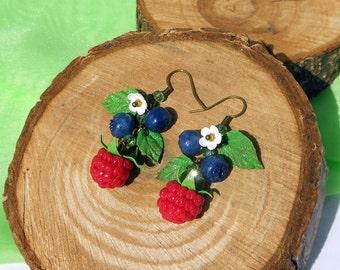 Long Earrings Raspberry Blueberry handmade of polymer clay Cluster Earrings forest berry Drop Earrings wild berries Cute Jewelry berries