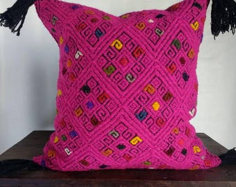 Mayan Influenced Handwoven Wool Pillow Cover From Chiapas Mexico