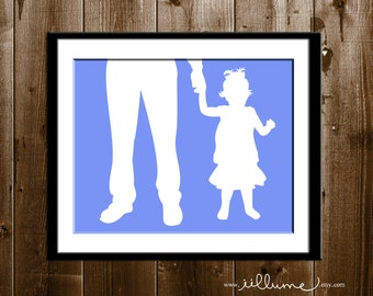 Custom Father Daughter Silhouette Portrait, Daddy Daughter Gift, Silhouette Art Print, Father Custom Silhouette Portrait from your Photo