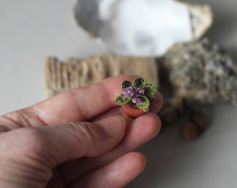 Miniature Faux Violet Fake Flower Crochet Potted Plant, Crocheted Miniature Fiber Art Violet, Dollhouse Miniature, Green Brown Lilac