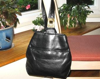 MANO Leather Slingback Bag, Pack, Single Shoulder Strap, Black Buttery Soft Leather, 1990's, Medium, Germany, Designer Bag, Excellent